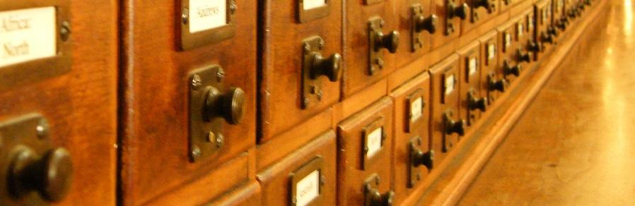 Photo of a wooden card catalogue