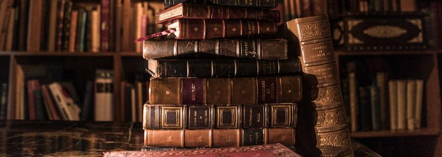 Photo of old leather-bound books