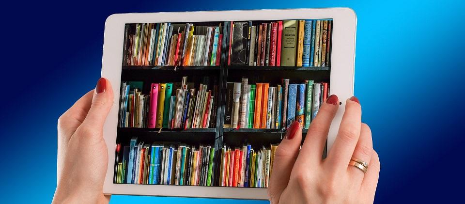 Image of a bookshelf displayed on a tablet